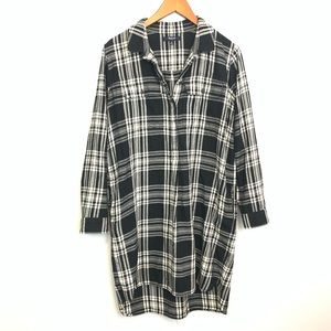 Madewell   Black Plaid Tunic Shirt Long Sleeve M